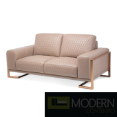 Mia Bella Gianna Leather Standard Loveseat in Peach RoseGold