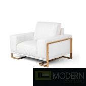 Mia Bella Gianna Leather Standard Chair in White RoseGold