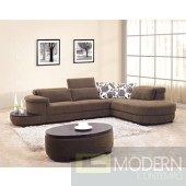 0902 - Brown Fabric Sectional Sofa Set