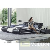 IQ Bed Modern Contemporary Charcoal Leather Platform Bed IQ102