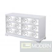 "Burch mirrored six drawer dresser in white 48"""