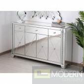 "Gianna 60"" clear crystal mirrored credenza"