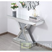 Titan 47 in. crystal mirrored console table