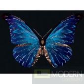 Blue Butterfly Glass Wall Art - Swarovski crystals