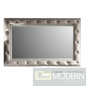 A&X White Leather Tufted Mirror Fame