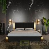 Entice Modern Black Velour & Gold Bedroom Set