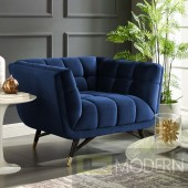 ADELIA UPHOLSTERED VELVET ARMCHAIR IN MIDNIGHT BLUE
