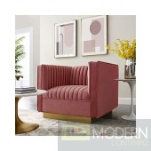 Fontanelle Vertical channel tufted perfomance velvet chair dusty rose