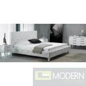 Divani Casa Monte Carlo - Leatherette Modern Bed with Buttons