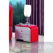 Modrest N003 - Modern Red Leather Nightstand