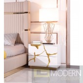 Oslo Modern White & Gold NIghtstand
