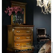 Novita Walnut Dresser Chest with Mirror