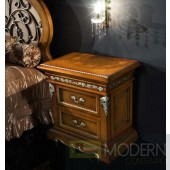 Novita Walnut Nightstand with Silver Accents