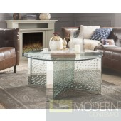 "Nahla 40"" Round Glass Top Mirrored Coffee Table"