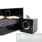 A&X Ovidius Modern Black Crocodile Nightstand