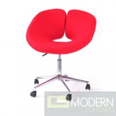 Pluto Red Wool Adjustable Leisure Chair with Casters
