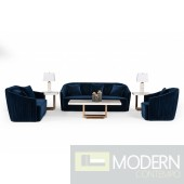 Cavalli Modern Blue Velvet & Brass Sofa Set