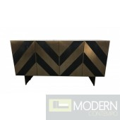 Peruzzi Glam Black Ash & Brass Gold Modern Buffet