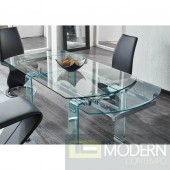 Molded tempered glass and metal combine  dining room table