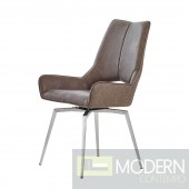 Set of 4 Brown Leatherette  Swivel Dining Chairs