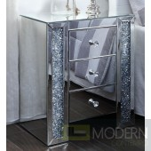 Venizia Nighstand Mirrored with Faux Crystals