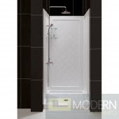 "SlimLine 32"" by 32"" Single Threshold Shower Base and QWALL-5 Shower Backwall Kit"
