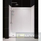 "SlimLine 32"" by 60"" Single Threshold Shower Base Left Hand Drain and QWALL-5 Shower Backwall Kit"