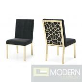 Lorenzo Modern Black Velvet & Gold Dining Chair (Set of 2)