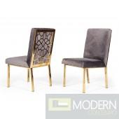 Lorenzo Modern Grey Velvet & Gold Dining Chair (Set of 2)
