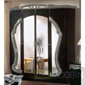 Modrest Rococo - Italian Classic Black-Silver Bedroom 4-Door Wardrobe