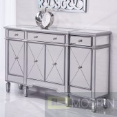 "Take me to Paris Mirrored 60"" 3 Drawer 4 Door Cabinet Credenza"