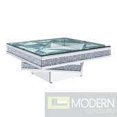 Venice Coffee Table, Mirrored, Faux Diamonds and Clear Glass