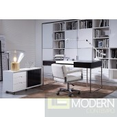 Modrest Ezra - Black Veneer Office Desk with Side Cabinet