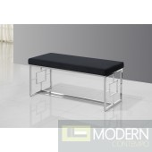 Vallyria Black Velvet and Silver Stainless Steel Bench