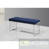 Vallyria Blue Velvet and Silver Stainless Steel Bench