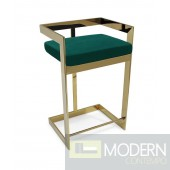 "Regale Gold & Green Velvet Bar Stool 26"" Seat height"
