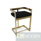 "Regale Gold & Black Velvet Bar Stool 26"" Seat height"