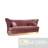 Bella Vita Modern Salmon Pink Velvet & Gold Sofa