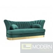 Bella Vita Modern Sea Green Velvet & Gold Sofa