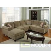 3 Pc Modern Brown Corduroy Sectional Sofa Living Room Set TBQS727P3