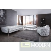 Camilla Transitional White Leatherette & Stainless Steel Sofa Set
