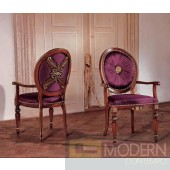 San Marco Dark Walnut & Purple Silk Fabric Arm Chair