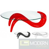 Saber Glass Oval Coffee Cocktail Table