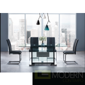 5Pc Dining Table Rectangular Base and Clear Glass Top, Black Frame with Grey leatherette and velvet  chrome chairs