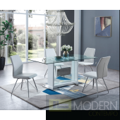 5Pc Dining Table Rectangular Base and Clear Glass Top with White Frame and  White leatherette and chrome chairs