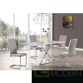 5Pc Carrara marble Top Dining Table with X-base design with polished stainless steel GREY