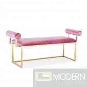 SERENA Bench Pink Vel. W/Gold Base
