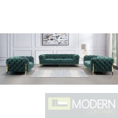 Lourdes Velour Modern Emerald Green Fabric Sofa Set