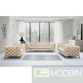 Lourdes Velour Modern Beige Fabric Sofa Set