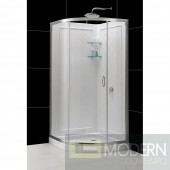 """Solo 34 3/8"""" by 34 3/8"""" Frameless Sliding Shower Enclosure, Base and QWALL-4 Shower Backwall Kit"""